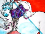 "Blue Sugar,  by Paedra Bramhall, 2006, ink painting, 38"" x 50"""