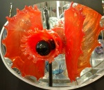 "Red Vagina, by Paedra Bramhall,  2004, blown art glass & mirror, 30"" x 18"" x 10"""
