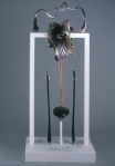 "Altar/Infertile, by Paedra Bramhall, 2001, glass with pvc on wood base, 37"" x 85"" x 22"" (93.98 x 215.90 x 55.88 cm)"
